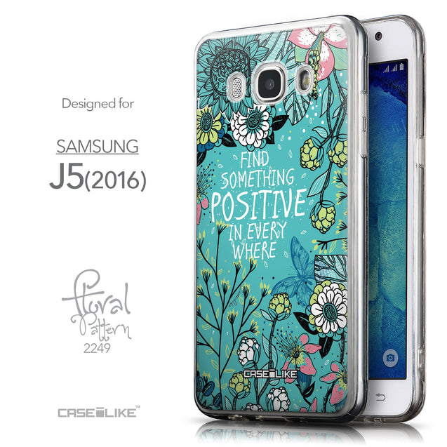 Front & Side View - CASEiLIKE Samsung Galaxy J5 (2016) back cover Blooming Flowers Turquoise 2249