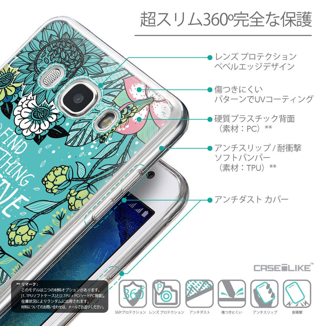 Details in Japanese - CASEiLIKE Samsung Galaxy J5 (2016) back cover Blooming Flowers Turquoise 2249