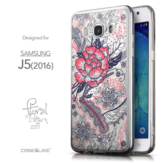 Front & Side View - CASEiLIKE Samsung Galaxy J5 (2016) back cover Vintage Roses and Feathers Beige 2251
