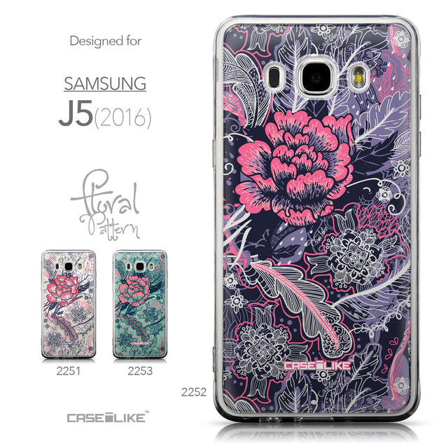 Collection - CASEiLIKE Samsung Galaxy J5 (2016) back cover Vintage Roses and Feathers Blue 2252