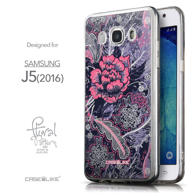 Front & Side View - CASEiLIKE Samsung Galaxy J5 (2016) back cover Vintage Roses and Feathers Blue 2252