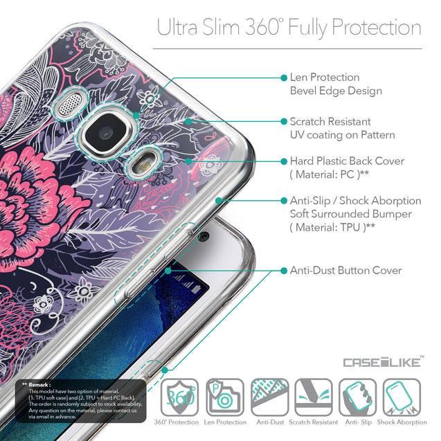 Details in English - CASEiLIKE Samsung Galaxy J5 (2016) back cover Vintage Roses and Feathers Blue 2252