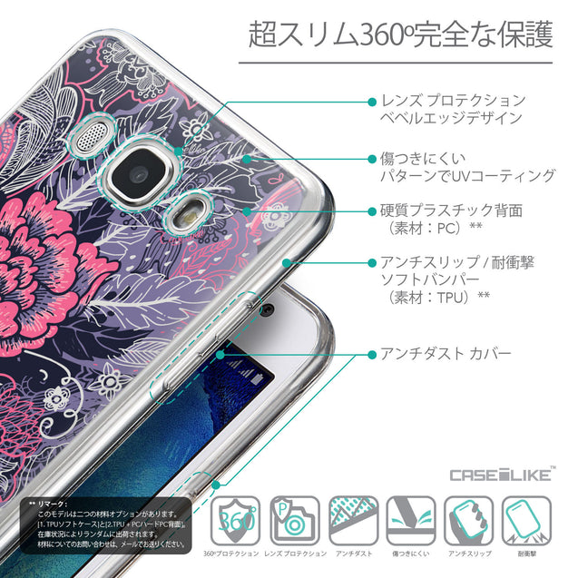 Details in Japanese - CASEiLIKE Samsung Galaxy J5 (2016) back cover Vintage Roses and Feathers Blue 2252
