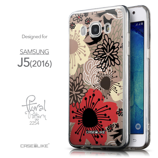 Front & Side View - CASEiLIKE Samsung Galaxy J5 (2016) back cover Japanese Floral 2254