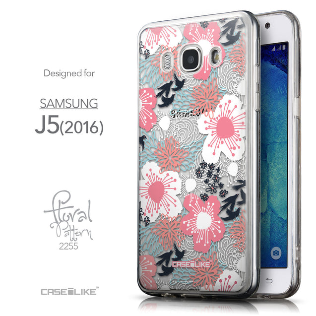 Front & Side View - CASEiLIKE Samsung Galaxy J5 (2016) back cover Japanese Floral 2255
