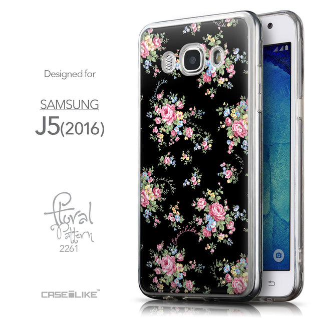 Front & Side View - CASEiLIKE Samsung Galaxy J5 (2016) back cover Floral Rose Classic 2261