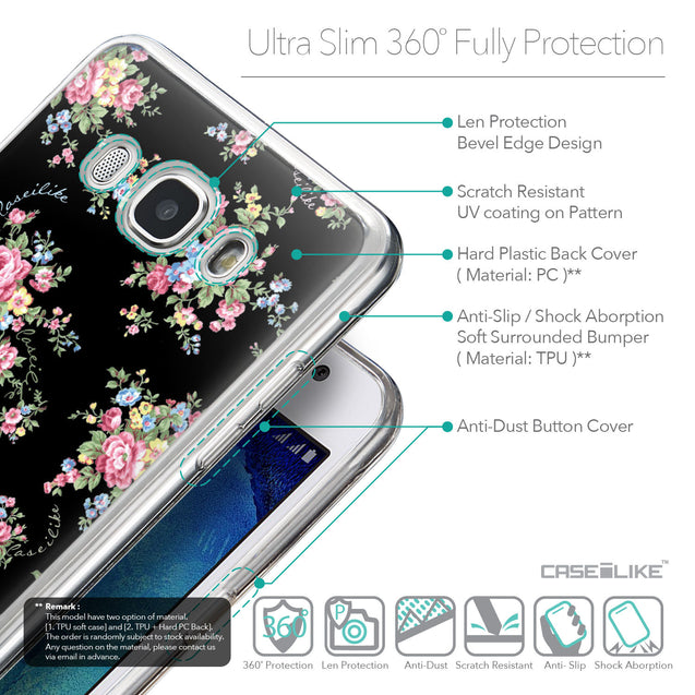 Details in English - CASEiLIKE Samsung Galaxy J5 (2016) back cover Floral Rose Classic 2261