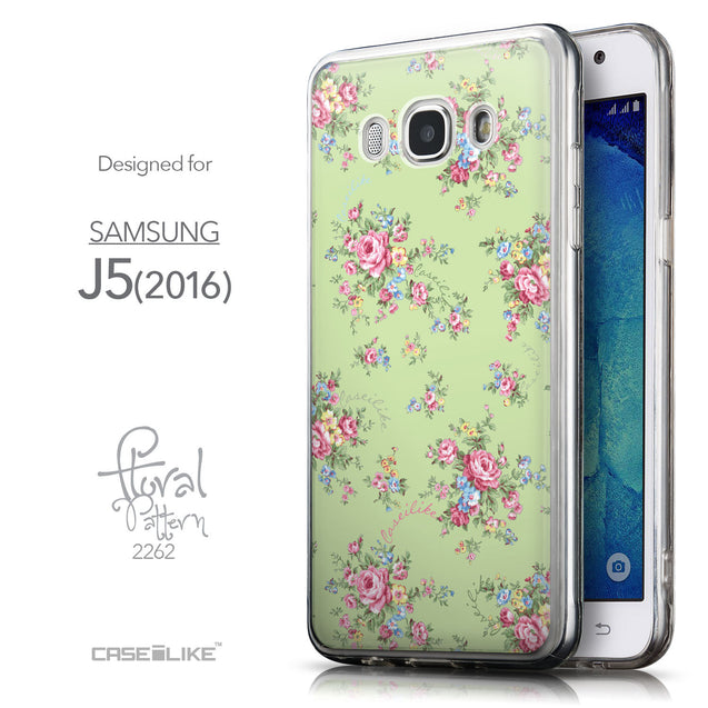 Front & Side View - CASEiLIKE Samsung Galaxy J5 (2016) back cover Floral Rose Classic 2262