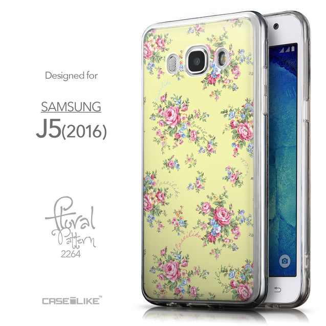 Front & Side View - CASEiLIKE Samsung Galaxy J5 (2016) back cover Floral Rose Classic 2264