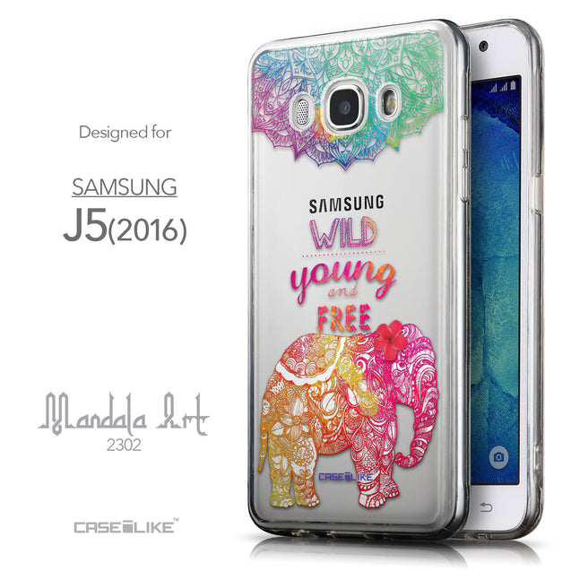Front & Side View - CASEiLIKE Samsung Galaxy J5 (2016) back cover Mandala Art 2302
