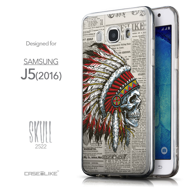 Front & Side View - CASEiLIKE Samsung Galaxy J5 (2016) back cover Art of Skull 2522