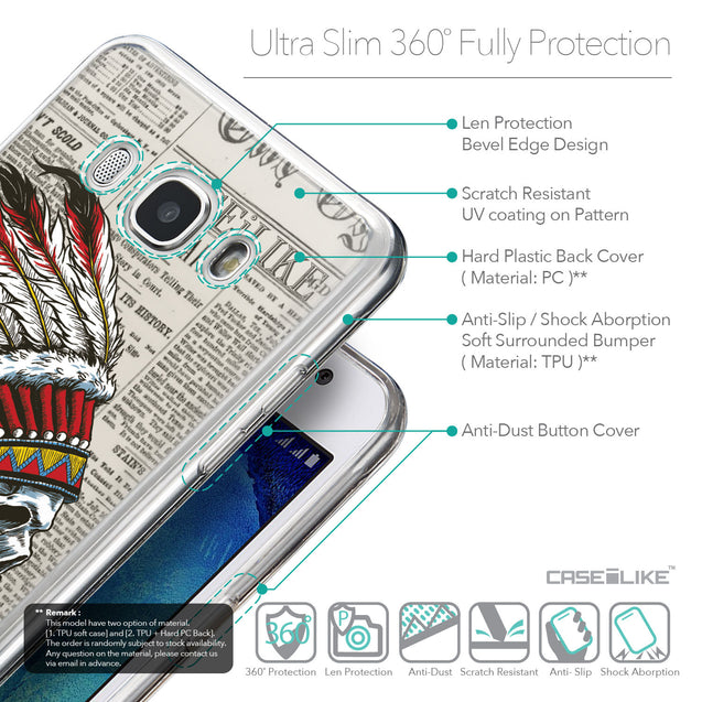 Details in English - CASEiLIKE Samsung Galaxy J5 (2016) back cover Art of Skull 2522