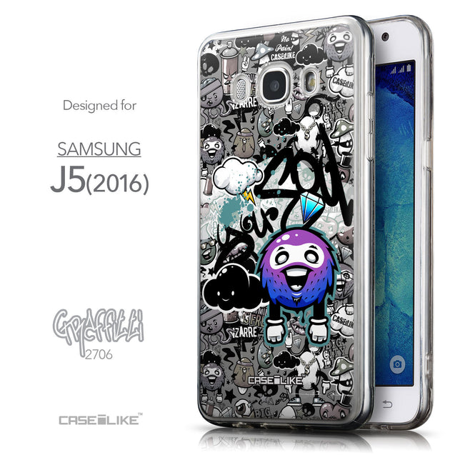 Front & Side View - CASEiLIKE Samsung Galaxy J5 (2016) back cover Graffiti 2706
