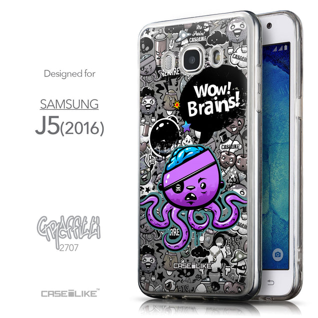 Front & Side View - CASEiLIKE Samsung Galaxy J5 (2016) back cover Graffiti 2707