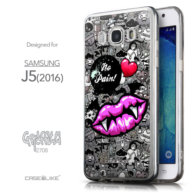 Front & Side View - CASEiLIKE Samsung Galaxy J5 (2016) back cover Graffiti 2708