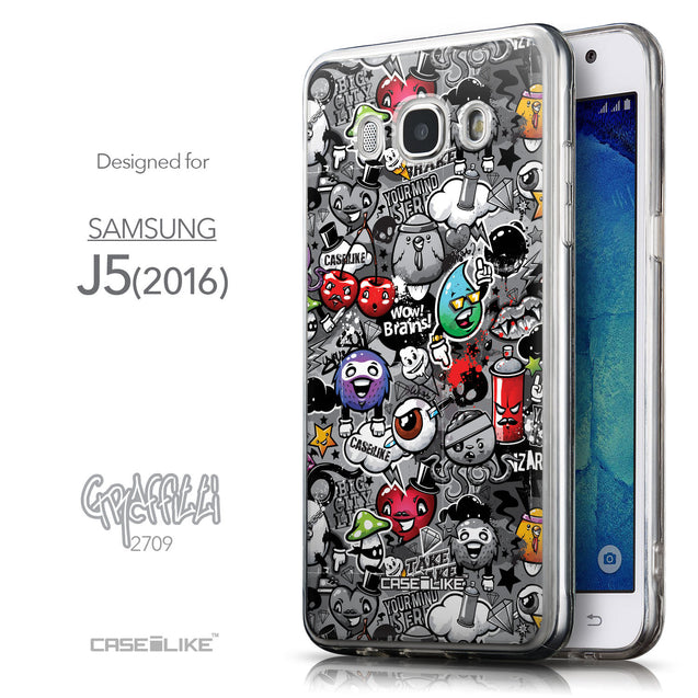 Front & Side View - CASEiLIKE Samsung Galaxy J5 (2016) back cover Graffiti 2709