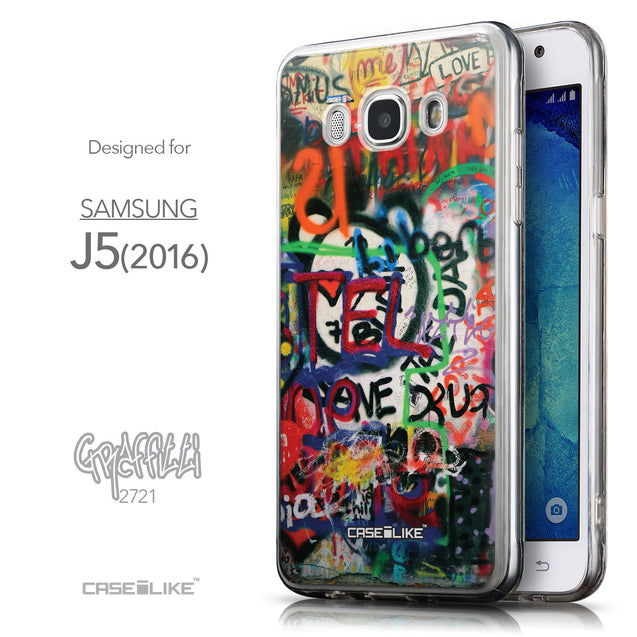 Front & Side View - CASEiLIKE Samsung Galaxy J5 (2016) back cover Graffiti 2721