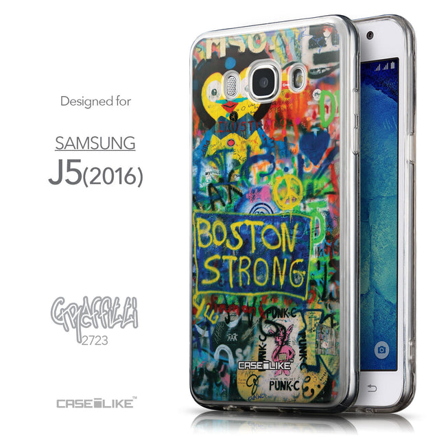 Front & Side View - CASEiLIKE Samsung Galaxy J5 (2016) back cover Graffiti 2723