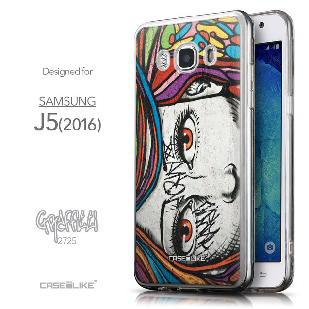 Front & Side View - CASEiLIKE Samsung Galaxy J5 (2016) back cover Graffiti Girl 2725