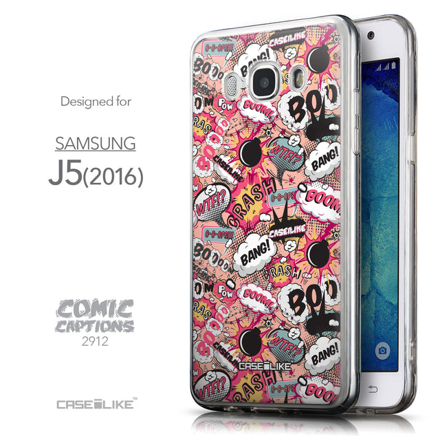 Front & Side View - CASEiLIKE Samsung Galaxy J5 (2016) back cover Comic Captions Pink 2912
