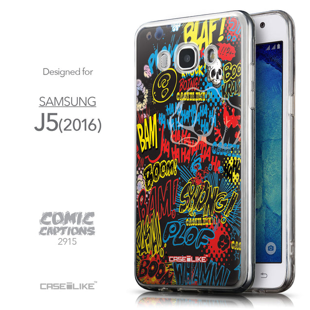 Front & Side View - CASEiLIKE Samsung Galaxy J5 (2016) back cover Comic Captions Black 2915