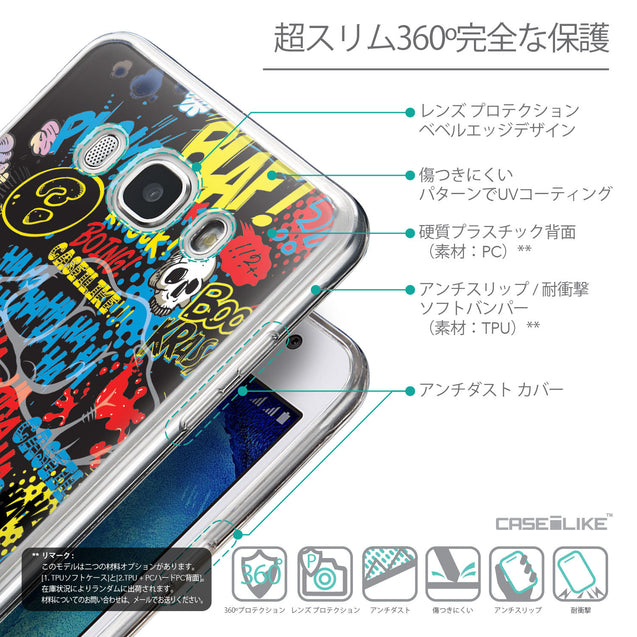 Details in Japanese - CASEiLIKE Samsung Galaxy J5 (2016) back cover Comic Captions Black 2915