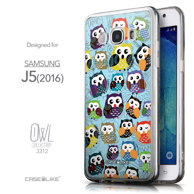 Front & Side View - CASEiLIKE Samsung Galaxy J5 (2016) back cover Owl Graphic Design 3312