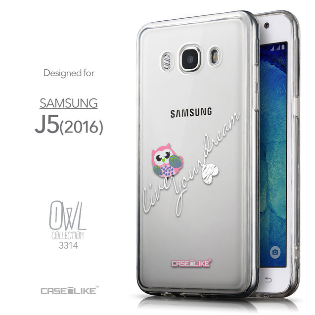 Front & Side View - CASEiLIKE Samsung Galaxy J5 (2016) back cover Owl Graphic Design 3314