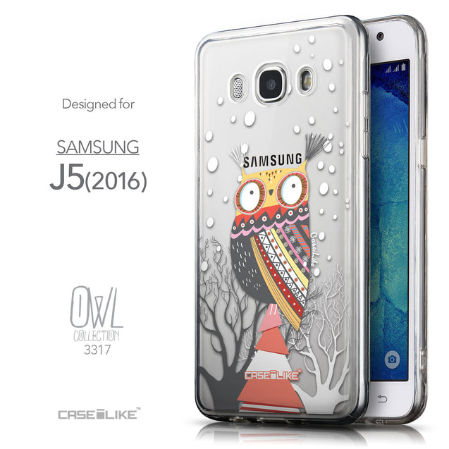 Front & Side View - CASEiLIKE Samsung Galaxy J5 (2016) back cover Owl Graphic Design 3317