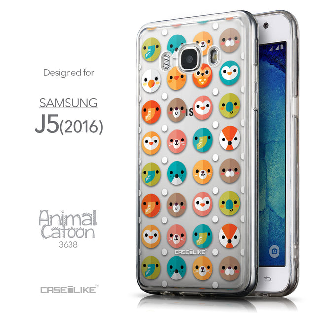 Front & Side View - CASEiLIKE Samsung Galaxy J5 (2016) back cover Animal Cartoon 3638
