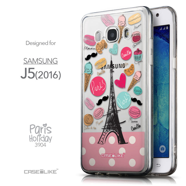Front & Side View - CASEiLIKE Samsung Galaxy J5 (2016) back cover Paris Holiday 3904