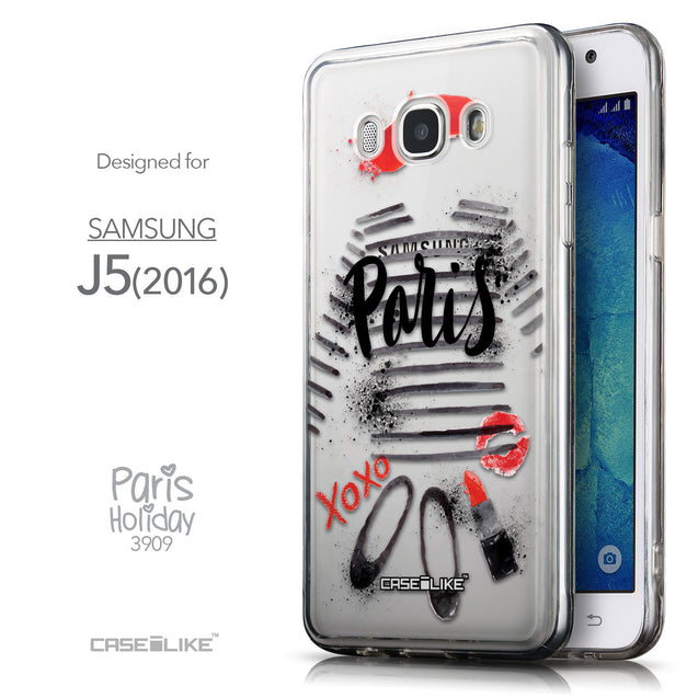 Front & Side View - CASEiLIKE Samsung Galaxy J5 (2016) back cover Paris Holiday 3909