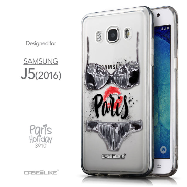 Front & Side View - CASEiLIKE Samsung Galaxy J5 (2016) back cover Paris Holiday 3910