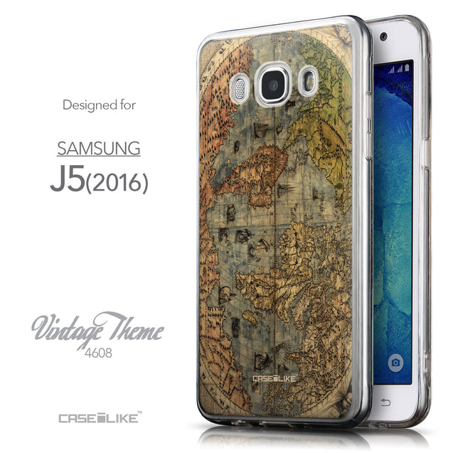 Front & Side View - CASEiLIKE Samsung Galaxy J5 (2016) back cover World Map Vintage 4608
