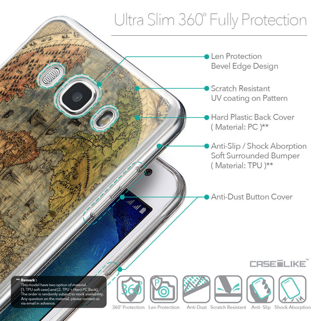 Details in English - CASEiLIKE Samsung Galaxy J5 (2016) back cover World Map Vintage 4608