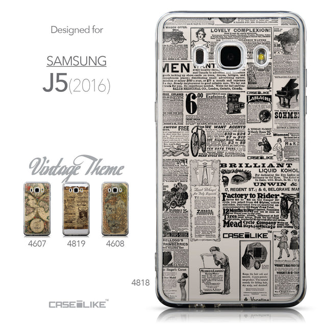 Collection - CASEiLIKE Samsung Galaxy J5 (2016) back cover Vintage Newspaper Advertising 4818