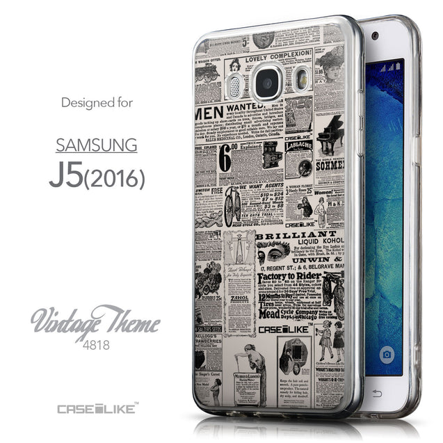 Front & Side View - CASEiLIKE Samsung Galaxy J5 (2016) back cover Vintage Newspaper Advertising 4818
