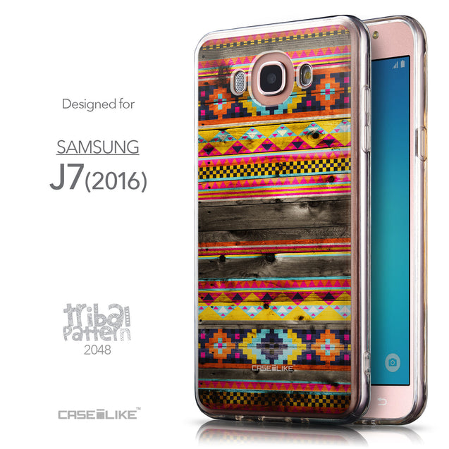 Front & Side View - CASEiLIKE Samsung Galaxy J7 (2016) back cover Indian Tribal Theme Pattern 2048