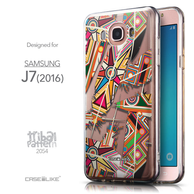 Front & Side View - CASEiLIKE Samsung Galaxy J7 (2016) back cover Indian Tribal Theme Pattern 2054