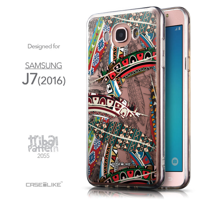 Front & Side View - CASEiLIKE Samsung Galaxy J7 (2016) back cover Indian Tribal Theme Pattern 2055