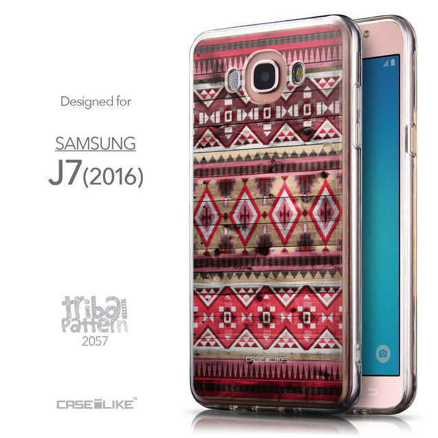 Front & Side View - CASEiLIKE Samsung Galaxy J7 (2016) back cover Indian Tribal Theme Pattern 2057