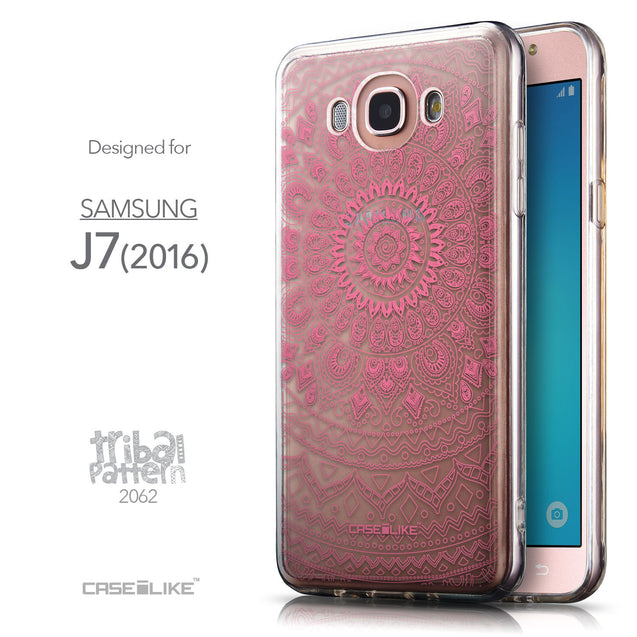 Front & Side View - CASEiLIKE Samsung Galaxy J7 (2016) back cover Indian Line Art 2062