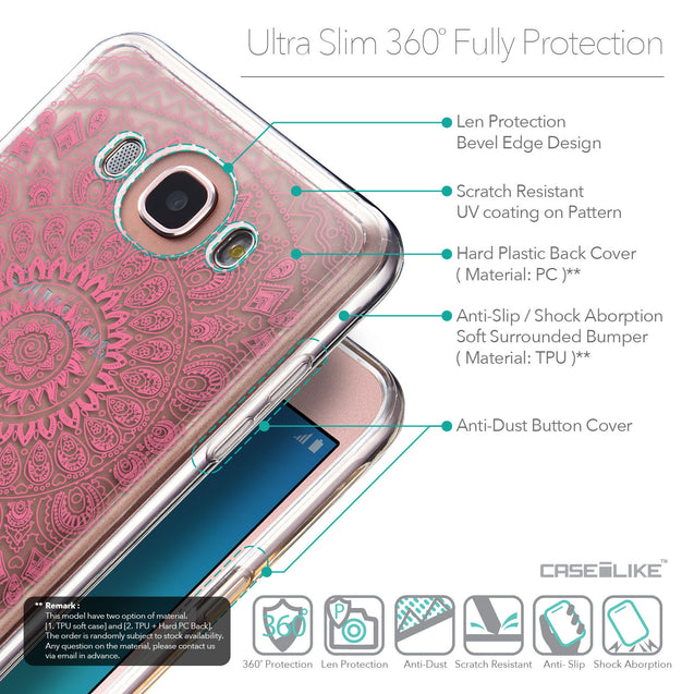 Details in English - CASEiLIKE Samsung Galaxy J7 (2016) back cover Indian Line Art 2062
