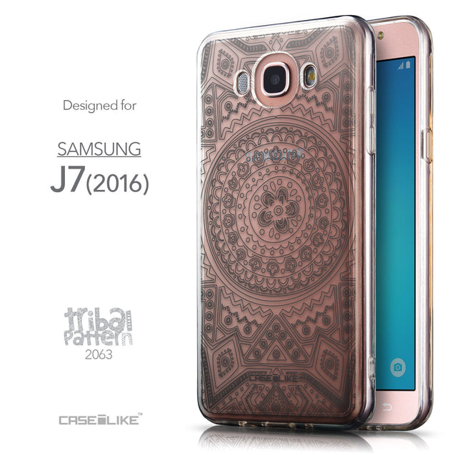 Front & Side View - CASEiLIKE Samsung Galaxy J7 (2016) back cover Indian Line Art 2063