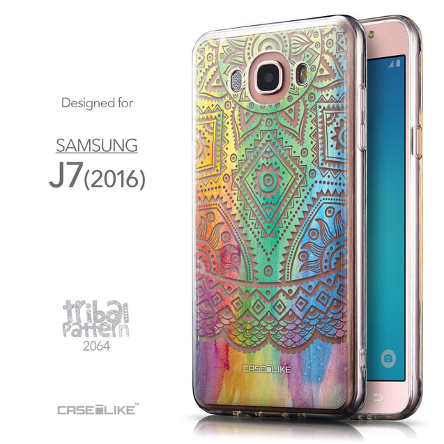 Front & Side View - CASEiLIKE Samsung Galaxy J7 (2016) back cover Indian Line Art 2064