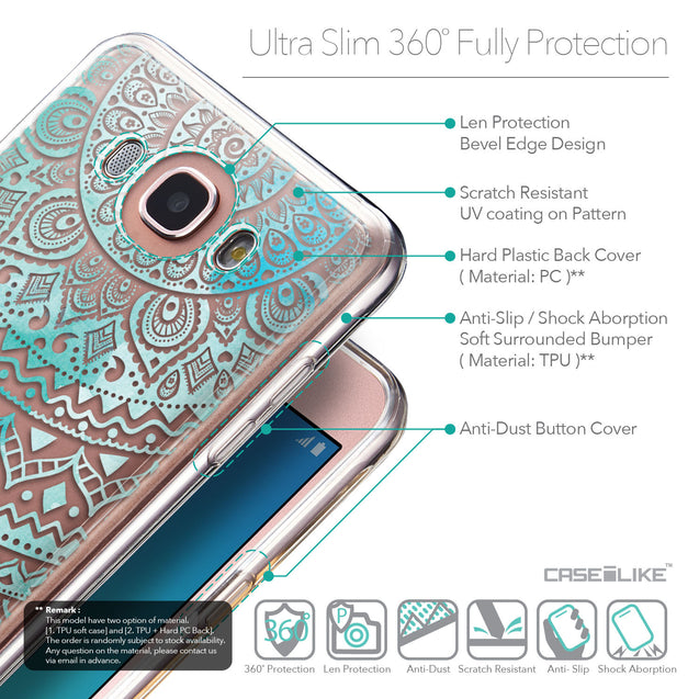 Details in English - CASEiLIKE Samsung Galaxy J7 (2016) back cover Indian Line Art 2066