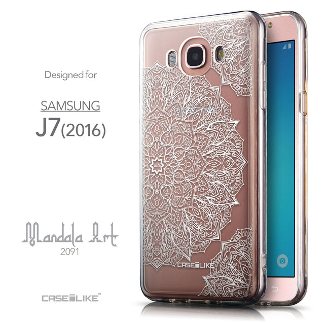 Front & Side View - CASEiLIKE Samsung Galaxy J7 (2016) back cover Mandala Art 2091