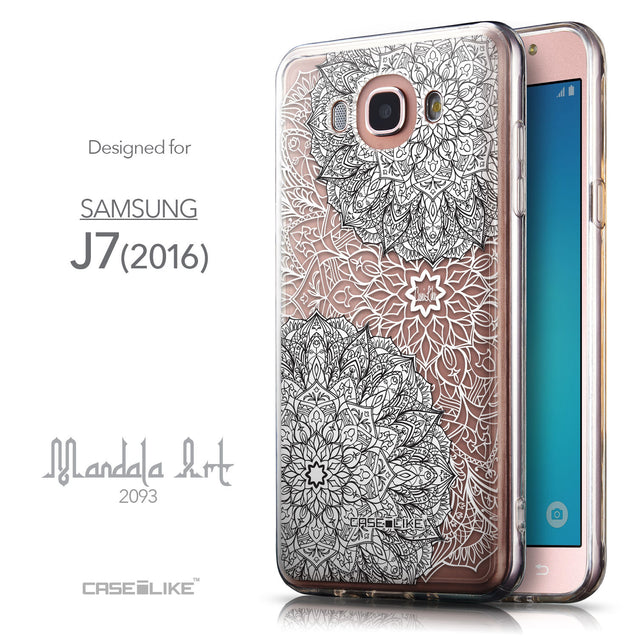 Front & Side View - CASEiLIKE Samsung Galaxy J7 (2016) back cover Mandala Art 2093