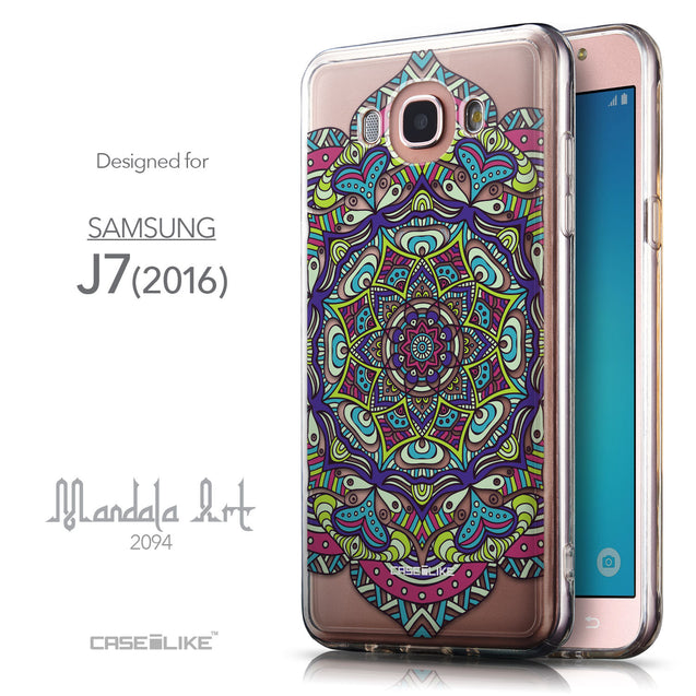 Front & Side View - CASEiLIKE Samsung Galaxy J7 (2016) back cover Mandala Art 2094