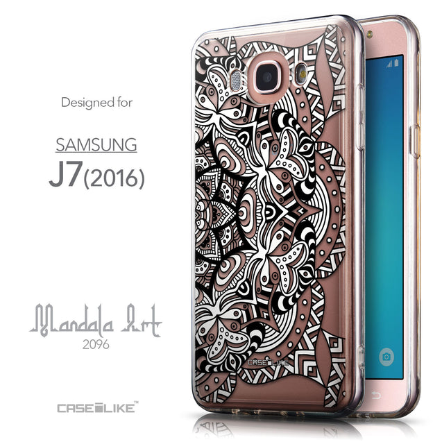 Front & Side View - CASEiLIKE Samsung Galaxy J7 (2016) back cover Mandala Art 2096